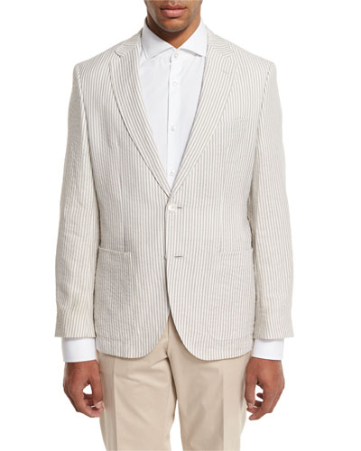 Striped Seersucker Two-Button Sport Coat, White/Tan