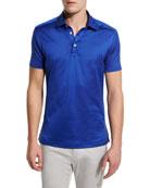 Solid Sateen Polo Shirt, Royal Blue