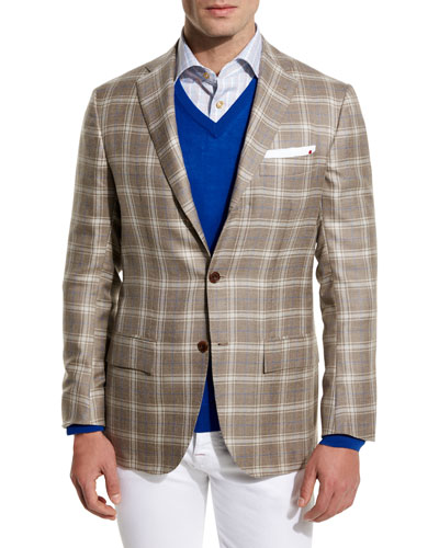 Plaid Cashmere-Silk Three-Button Sport Coat, Tan/Crème