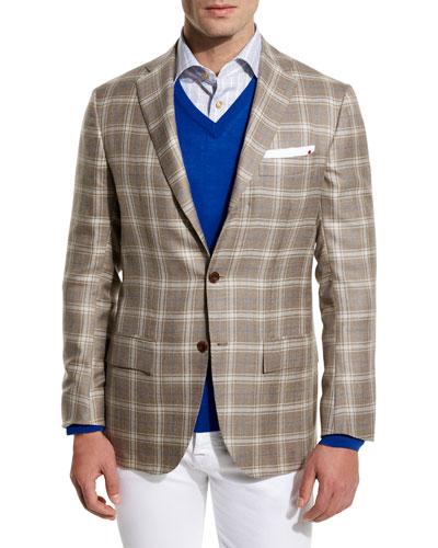 Plaid Cashmere-Silk Three-Button Sport Coat, Tan/Crème
