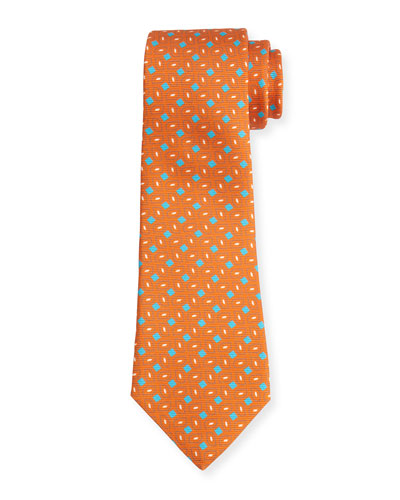 Neat Box-Pattern Printed Silk Tie, Orange