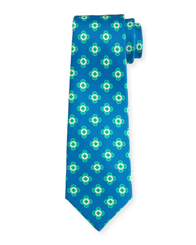 Neat Spaced Flower Silk Tie, Blue/Green