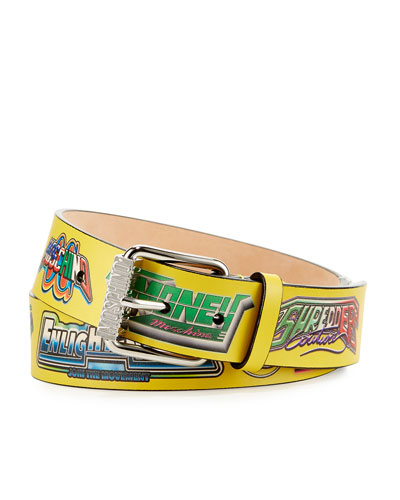 Men's Super Hero Leather Belt, Yellow/Multicolor