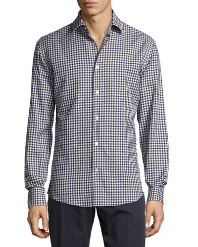 Cotton Check Sport Shirt, Navy/White