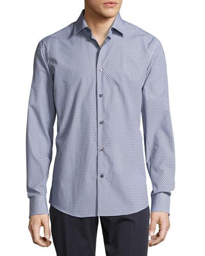 Mini-Gancini Long-Sleeve Cotton Shirt, Darkest Navy/White