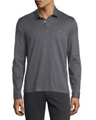 Men's Long-Sleeve Polo Shirt with Gancini Chest Embroidery, Gray