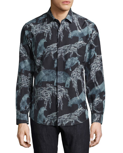 Men's Safari Animals Silk-Cotton Sport Shirt, Black