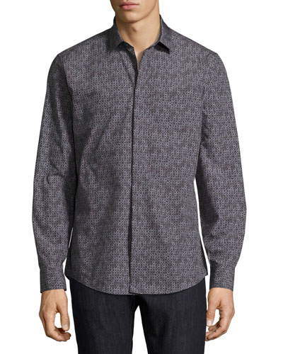 Gancini Tango Cotton Sport Shirt, Black