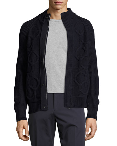 Gancini Cable-Knit Wool-Cashmere Zip-Front Sweater, Navy