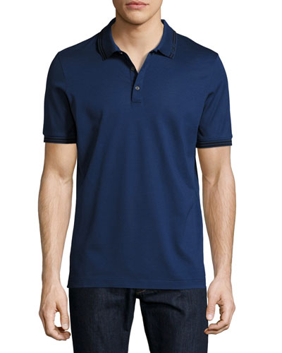 Cotton Piqué 3-Button Polo Shirt with Gancini Detail on Collar, Ultra Blue