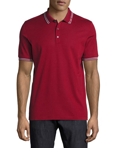 Cotton Piqué 3-Button Polo Shirt with Gancini Detail on Collar, ...