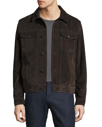 Calfskin Suede Trucker Jacket, Brown