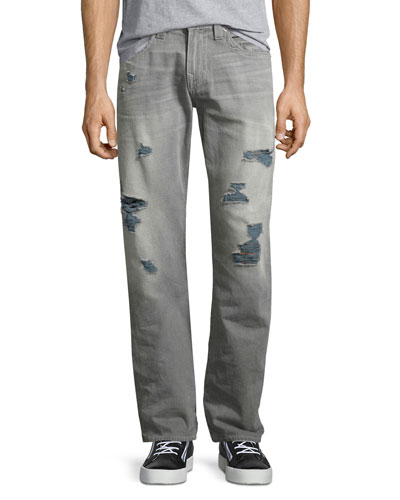 Ricky Distressed Straight-Leg Jeans, Worn Tin