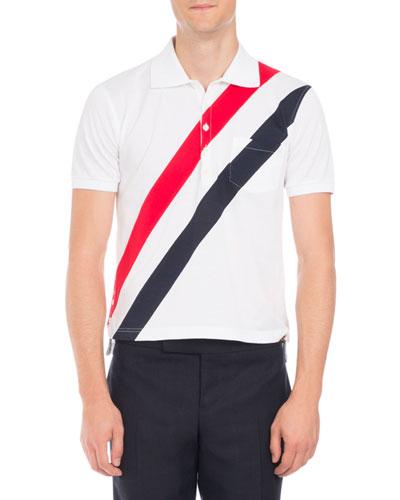 Short sleeves stripe polo shirt neiman marcus for Thom browne white shirt