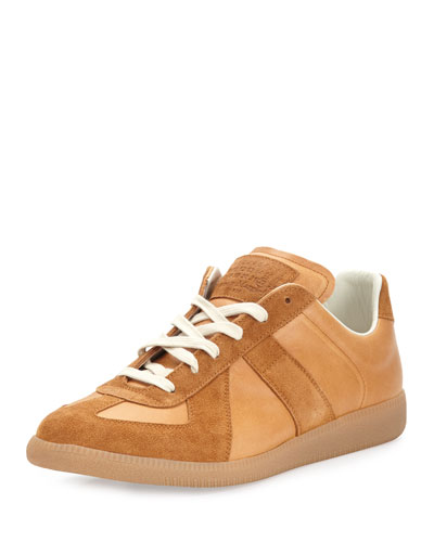 Men's Replica Suede & Leather Low-Top Sneaker, Natural