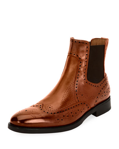 Drifton Wing-Tip Brogue Leather Chelsea Boot, Cognac Brown