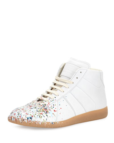 Replica Paint-Splatter Leather Mid-Top Sneaker, White