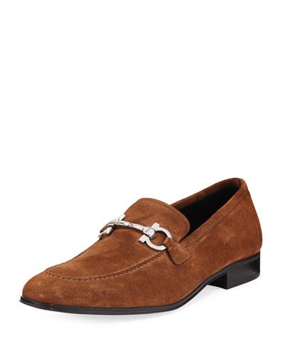 Men's Suede Gancini Loafer, Brown