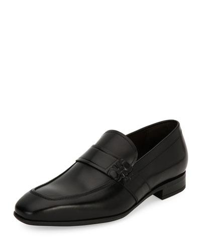 Men's Gancini-Embossed Leather Loafer, Black (Nero)