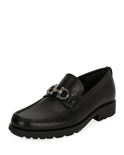Leather Lug-Sole Loafer, Black