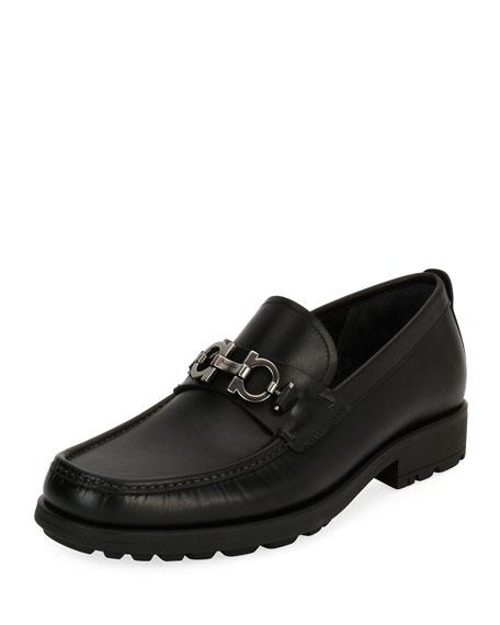 Salvatore Ferragamo Men's Leather Lug-Sole Loafer, Black