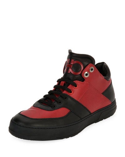 Men's Leather Mid-Top Sneaker, Black/Red (Nero/Rosso)