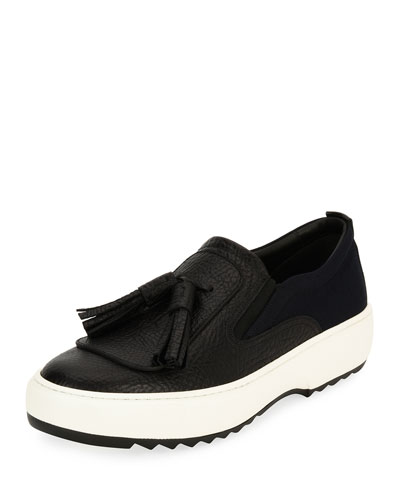 Lucca 7 Leather Sneaker with Oversized Tassels on Archival Sawtooth Sole, ...