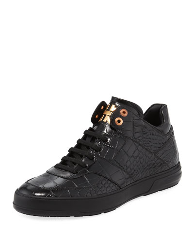 Men's Croc-Embossed Leather Mid-Top Sneaker, Black