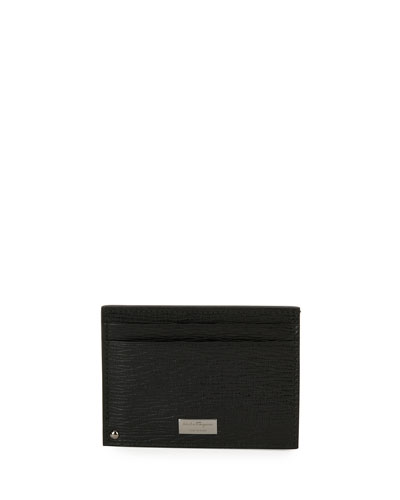 Men's Revival Leather Card Case with Flip-Out ID Window, Black