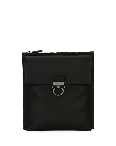 Gancio Nylon & Leather Formal Crossbody Bag, Black