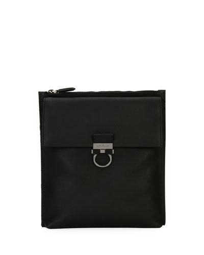 Men's Gancio Nylon & Leather Formal Crossbody Bag, Black
