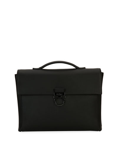 Gancio Formal Soft Leather Briefcase, Black