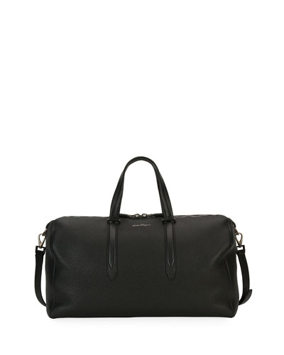 Firenze Leather Weekender Duffel Bag, Gray