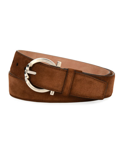 Suede Belt with Twisted Gancini Buckle, Brown