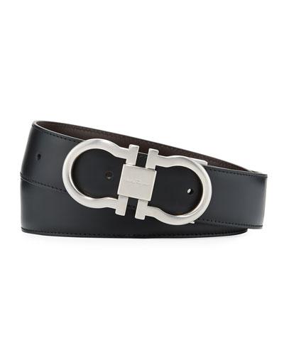 Men's Reversible Leather Gancini-Buckle Belt, Black/Brown