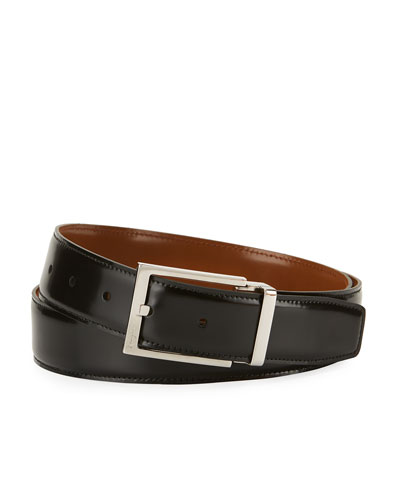 Men's Reversible Lux Calfskin Leather Belt, Black/Brown