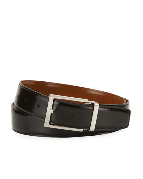 Salvatore Ferragamo Men's Reversible Lux Calfskin Leather Belt, Black/Brown