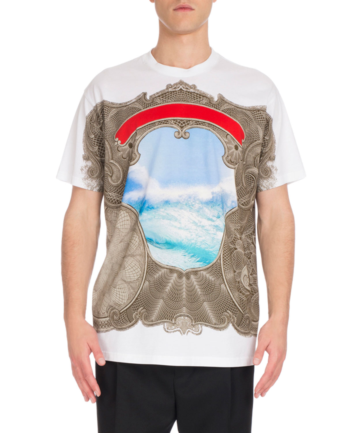 Colombian-Fit Framed Wave-Print T-Shirt, White