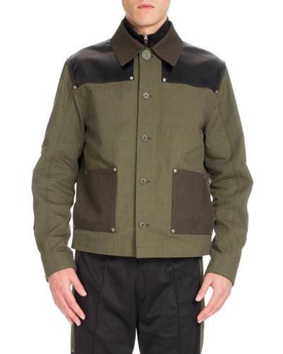 Workwear Twill Utility Jacket, Dark Green