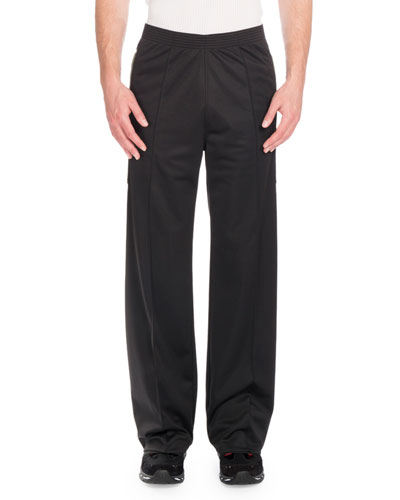 Canvas-Patch Wide-Leg Jogger Pants, Black