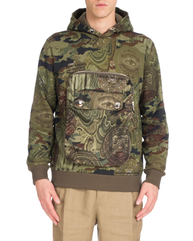 Camouflage Money-Print Pocket Hoodie, Khaki