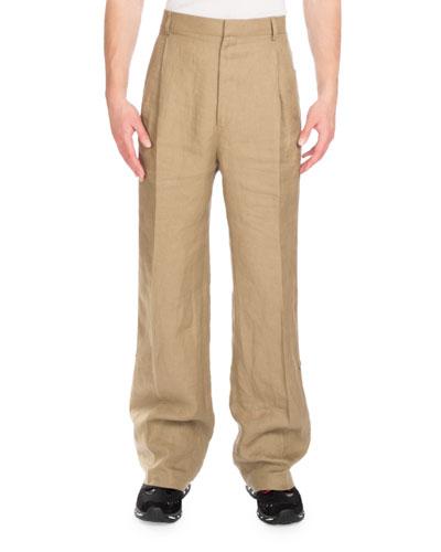 Linen Wide-Leg Track-Stripe Pants, Beige