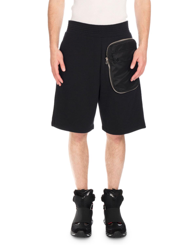 Zip-Pocket Sweat Shorts, Black
