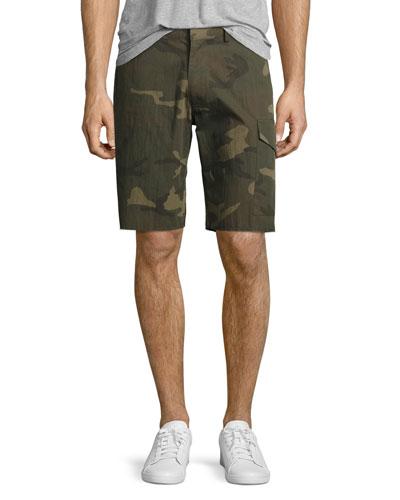 Camo-Print Cargo Shorts, Green