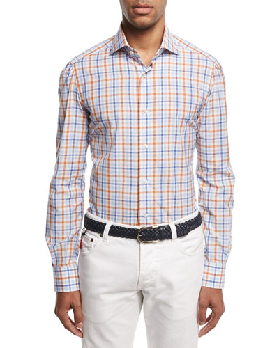 Windowpane Check Sport Shirt, Blue/Rust