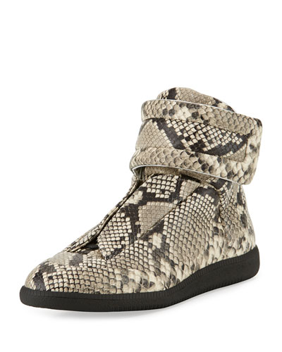 Men's Future Python-Embossed Leather High-Top Sneaker, Natural