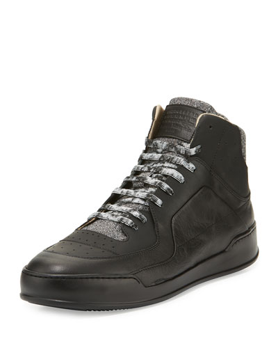 Men's Leather Basketball High-Top Sneaker, Black/Gray