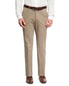 Cashmere-Cotton Flat-Front Pants