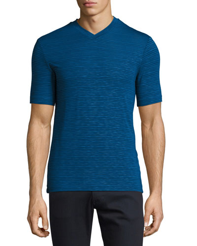 Textured-Stripe V-Neck T-Shirt, Medium Blue