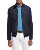 Cotton-Tech Hybrid Zip-Front Jacket, Navy